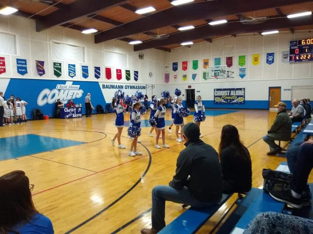 cheering in Bauman gym